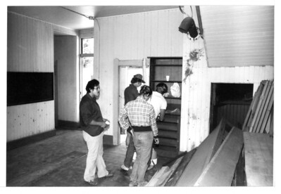 "Workers take a break in Goleta Depot's Freight Office during the restoration and rehabilitation of the historical building in 1982. Do you know anyone in this photo?  If you do, use the ""ADD COMMENTS"" button in the lower left to tell us. Please include your name and contact information. acc2008.004.0037"