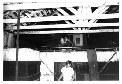 "In 1982, workers help with the restoration and rehabilitation of Goleta Depot's Freight Room area. Do you know who these men are?  If you know, use the ""ADD COMMENTS"" button in the lower left to tell us. Please include your name and contact information. acc2008.004.0033"