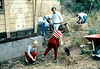 "Volunteers pick up old shingles off the ground around Goleta Depot, June 1982. Can you identify anyone? If you can help,  use the ""ADD COMMENTS"" button in the lower left to tell us. Please include your name and contact information. acc2005.001.0237"