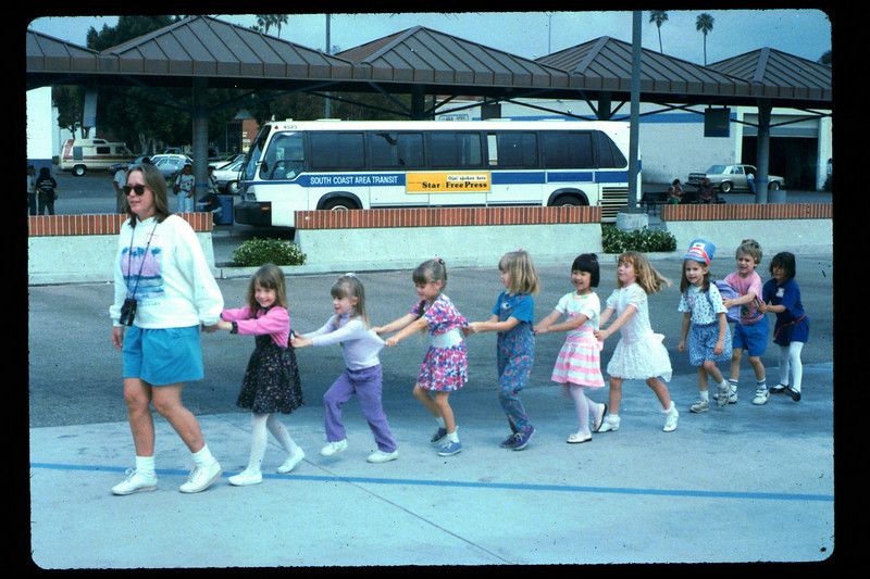"In Spring 1992, the museum led four school rail excursions. On this trip, the group went to Oxnard. Can you identify anyone in the photo? If you can help,  use the ""ADD COMMENTS"" button in the lower left to tell us. Please include your name and contact information. acc2005.001.1607"