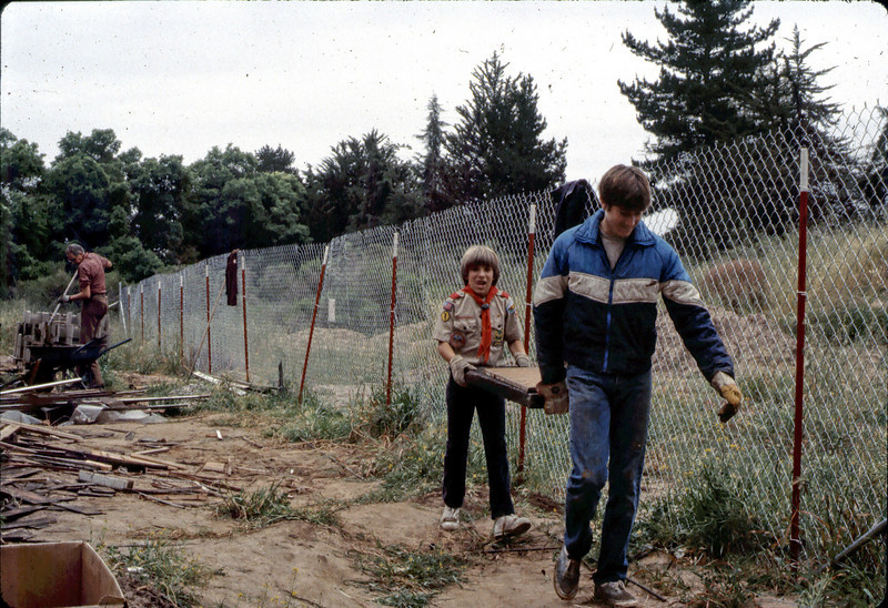 "This was taken during a Boy Scout Troop 26 clean-up day at Goleta Depot in April 1982. Do you recognize either of the young men on the right side of the photo?  If you can help,  use the ""ADD COMMENTS"" button in the lower left to tell us. Please include your name and contact information. acc2005.001.0207"