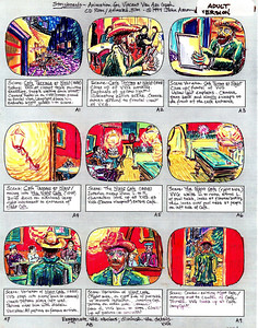 "Storyboards from ""CROW IN THE STORM"" an animated feature film on the life of Vincent van Gogh JOHN AARON- Artist, Designer registered with Library of Congress 1998"
