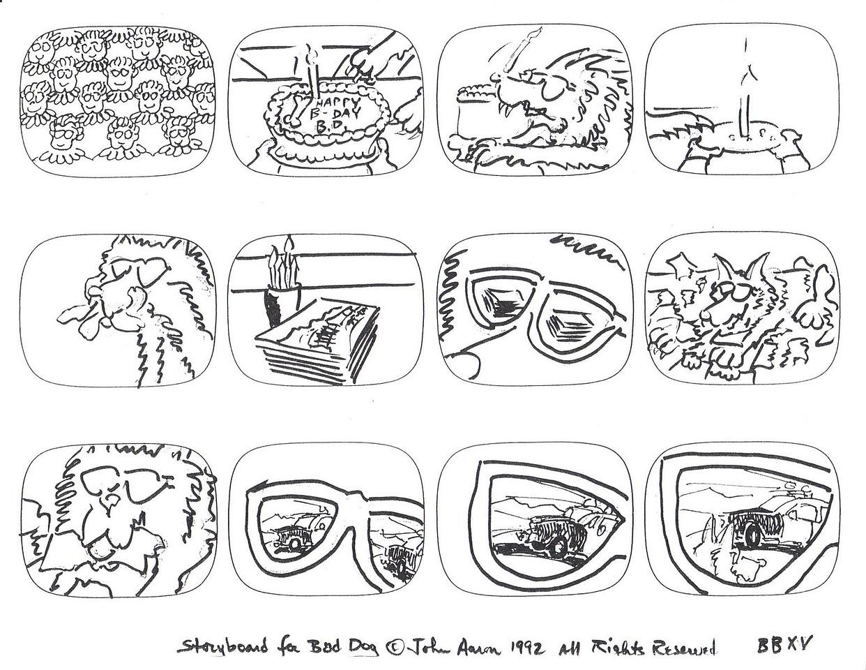 """BAAD DOG"" ANIMATED SERIES STORYBOARDS- INK JOHN AARON- ARTIST & CREATOR Designed for MODERN ARF ENTERTAINMENT"