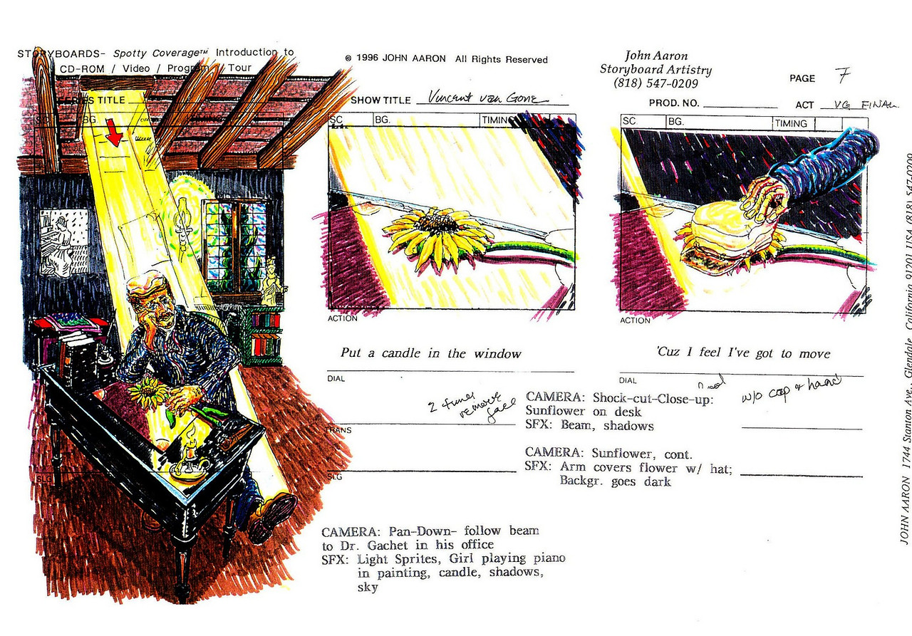 """Storyboards from """"CROW IN THE STORM"""" an animated feature film on the life of Vincent van Gogh JOHN AARON- Artist, Designer registered with Library of Congress 1998"""