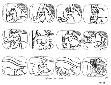 """BAAD DOG"" ANIMATED SERIES STORYBOARDS- INK JOHN AARON- ARTIST & CREATOR Designed for MODERN ARF ENTERTAINMENT"