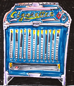 Cigarette Machine, 1957 A pack cost 22 cents then from the machine. watercolor, ink on paper copyright John Aaron All rights reserved