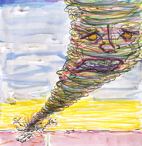 The first condition of quitting smoking: Tornado Face watercolor, ink on paper copyright John Aaron All rights reserved