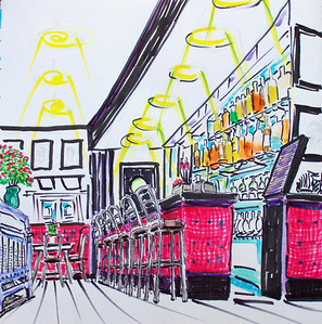 Penn Albert Cocktail Lounge watercolor, ink on paper copyright John Aaron All rights reserved