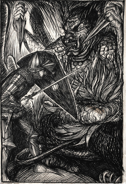 CHRISTIAN FIGHTETH APOLLYON<br /> SIGNED AND DATED 1901<br /> PEN AND INK ON BOARD<br /> 10 1/2 X 6 3/4 INCHES<br /> THE PILGRIM'S PROGRESS, <br /> LONDON: GEORGE NEWNES, 1901, THE FIRST PART, <br /> FACING PAGE 80