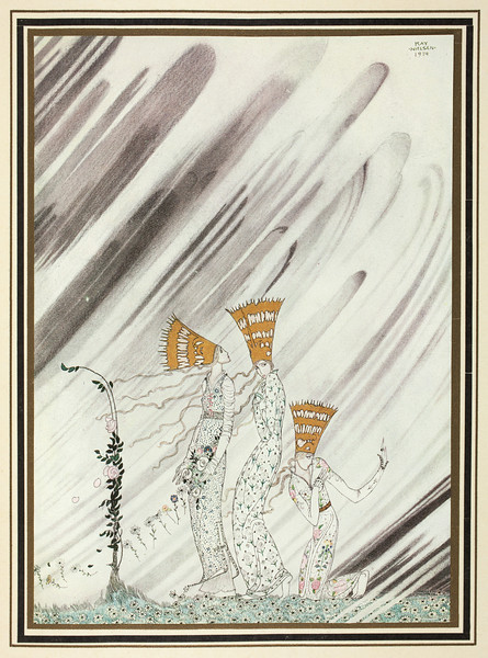 'Just as they bent down to take the rose a big dense snow-drift came and carried them away'.<br /> <br /> Illustration by Kay Nielsen in East of the sun and west of the moon (1914), (198 x 150 mm),