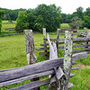 Close-up of split-rail fence