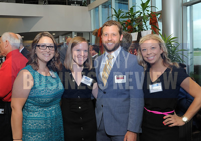 6-18-2015, Albany Business Review's Book of Lists bash. ABR's Courtney Myers, Melissa Mangini and Kate Fruscione with Andrew Mangini from Gramercy Communications.