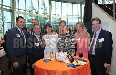 6-18-2015, Albany Business Review's Book of Lists bash. Jeff Trudeau of Saratoga National Bank & Trust with Peter Mortka, Megan Grabowski, Ashley Smith and Rebecca Cleere of Northwestern Mutual, and ABR's Brian Crouth.