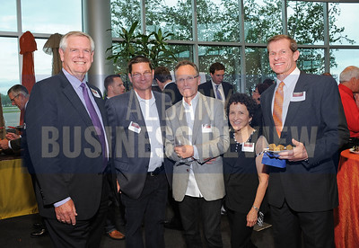 6-18-2015, Albany Business Review's Book of Lists bash. James Conroy of Berkshire Hathaway Blake, REALTORS, Lauren Brooks of River King Development, Russ Brooks of The Case Group, Jody Brooks of River King Development and Bill Osolinski of Executive Computing.
