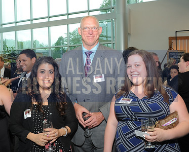 6-18-2015, Albany Business Review's Book of Lists bash. Deanna Sokaris and Britney Dethorne of Walrath Recruiting with Joseph Flacke from Flagstone Management.