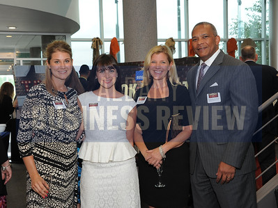 6-18-2015, Albany Business Review's Book of Lists bash. Northwestern Mutual's Ashley Smith, Megan Grabowski and Kristen Cargill, with Raimundo Archibold of Schwartz Heslin Group.