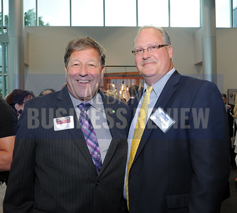 6-18-2015, Albany Business Review's Book of Lists bash. Jeff Stone from Kinderhook Bank with ABR's Rob Tallman.