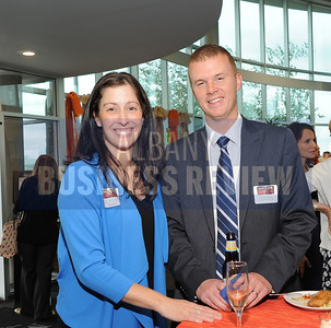 6-18-2015, Albany Business Review's Book of Lists bash. Jen Robbins of Turner Construction Company and Ryan Venter of Capital District YMCA.