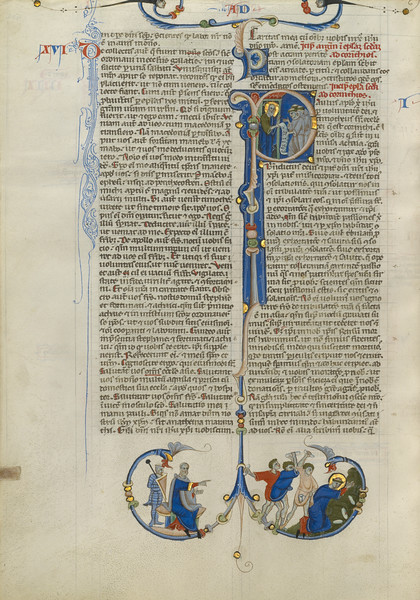 Initial I: Paul Handing a Scroll to Friars