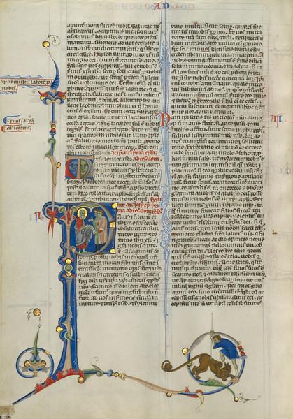 Initial P: Saint Paul Giving Two Men a Scroll