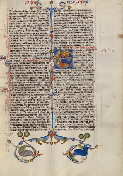 Initial E: Ezekiel Dreaming of the Four Evangelist Symbols