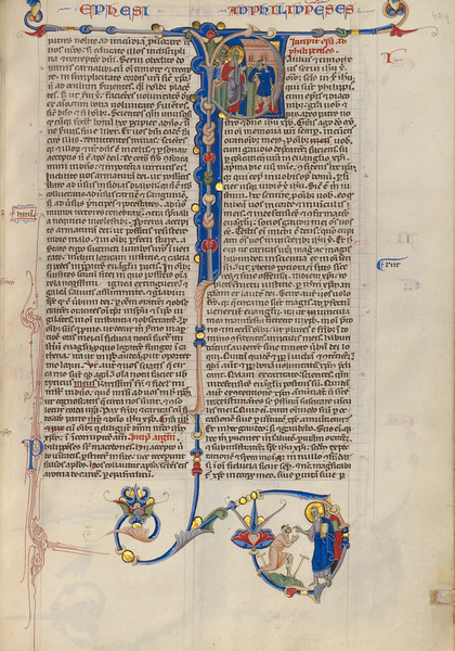 Initial P: Saints Paul and Barnabas with the Cripple at Lystra