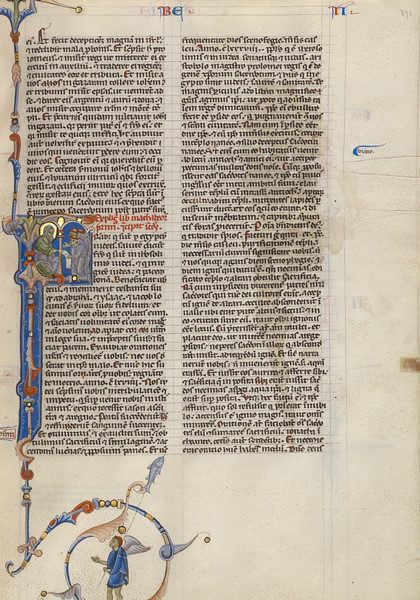 Initial F: Seated Prophet Showing a Scroll to Monks
