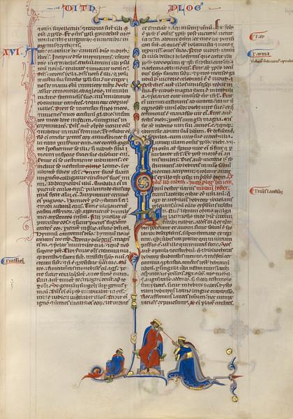 Initial L: Esther before King Ahausuerus