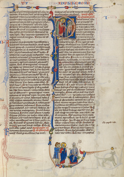 Initial P: Saint Paul Giving a Scroll to a Bishop