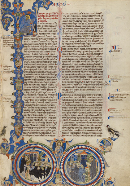 Initial F: Christ with Saints Jerome, Dominic, and Francis