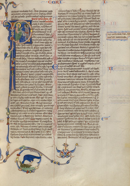 Initial P: Paul Handing a Scroll to Two Men