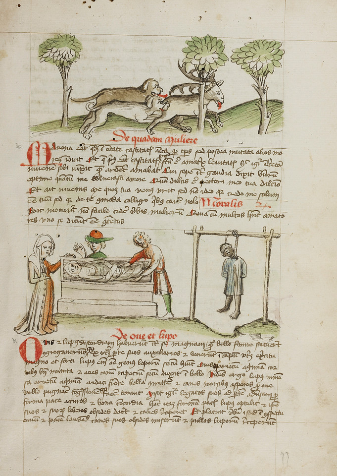 A Dog Hunting a Stag; A Man Killed by Hanging and A Woman Laying in a Coffin