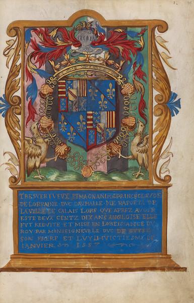 Frontispiece with Coat of Arms of Claude de Lorraine, Duc d'Aumale