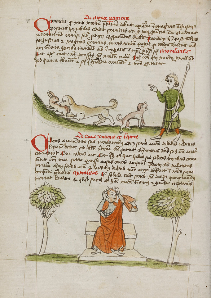 A Dog Biting a Hare and A Hunter Speaking to the Dog; A Man with a Tonsure About to Sit on a Fly