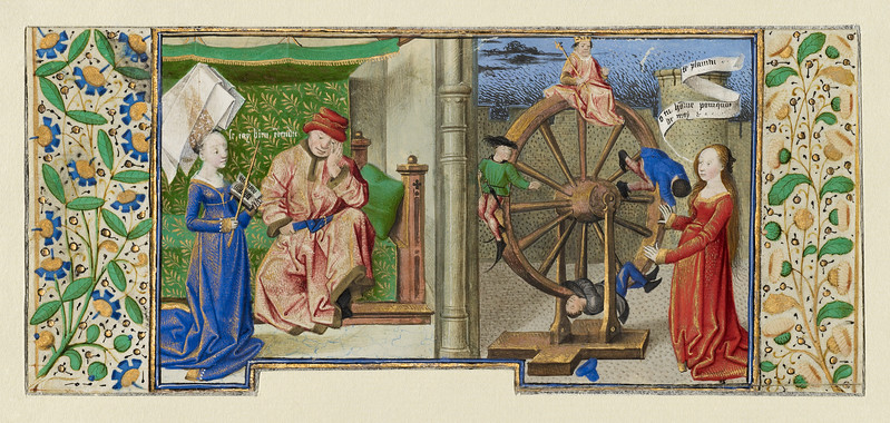 Philosophy Consoling Boethius and Fortune Turning the Wheel