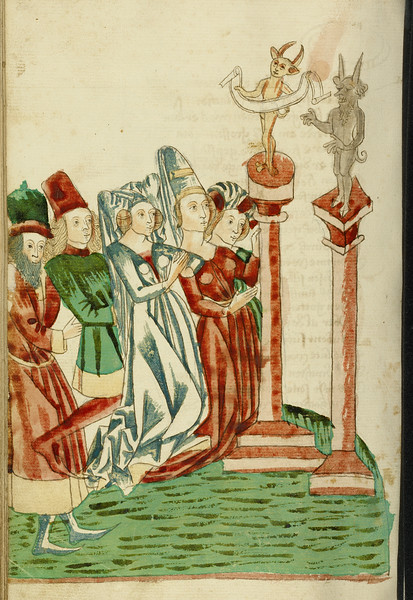 A Group of Men and Women Worship Two Idols