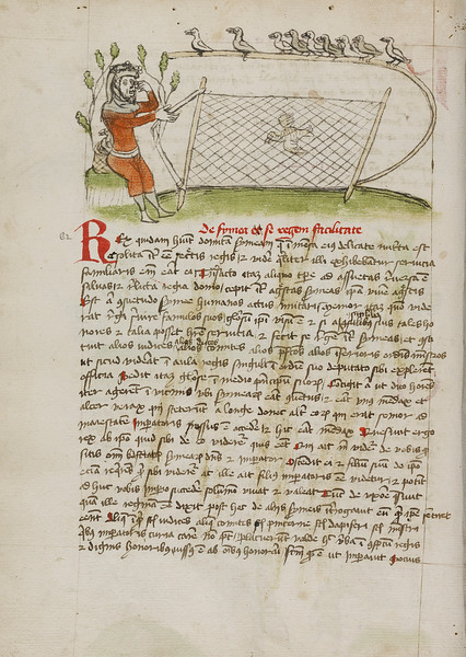 A Crowned Man Pointing to his Eyes and Holding a Net over a Bird