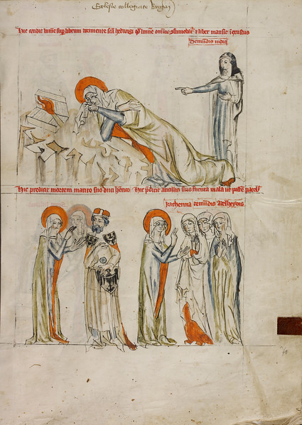 While Saint Hedwig Sleeps, a Candle Falls onto Her Book but Does Not Burn; Saint Hedwig Prophesying the Death of Heinrich