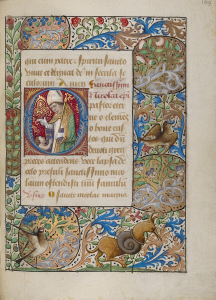 Initial O: Saint Nicholas Blessing a Child