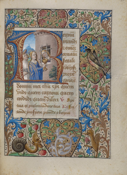 Initial R: Saint Avia in Prison Receiving Communion from the Virgin