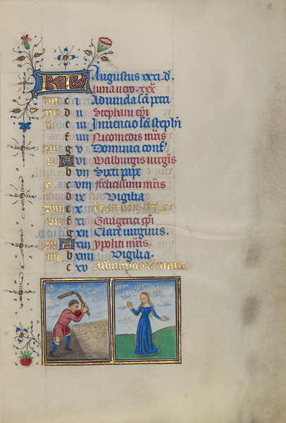 A Man Threshing; Zodiacal Sign of Virgo