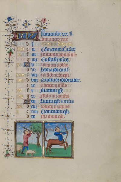 A Man Knocking Acorns from a Tree; Zodiacal Sign of Sagittarius