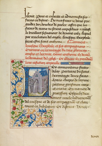 Initial L: Saint Anthony Appearing to Bishop Theophile and Leading Him to His Hermitage