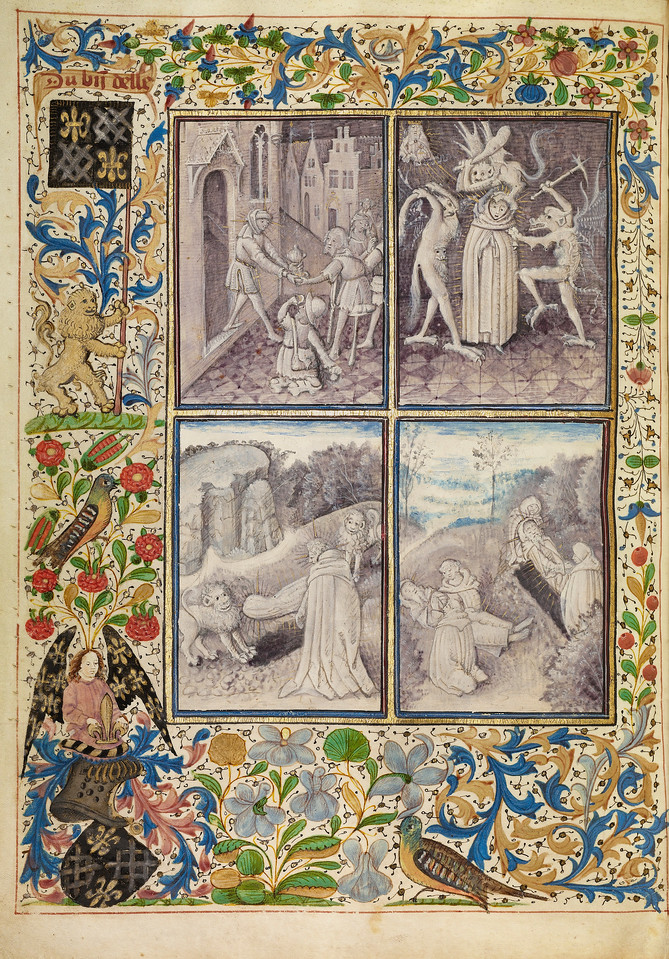 Saint Anthony Giving his Clothing to the Poor; Anthony Suffering Temptations; Anthony Burying Paul in the Desert; The Death and Burial of Saint Anthony