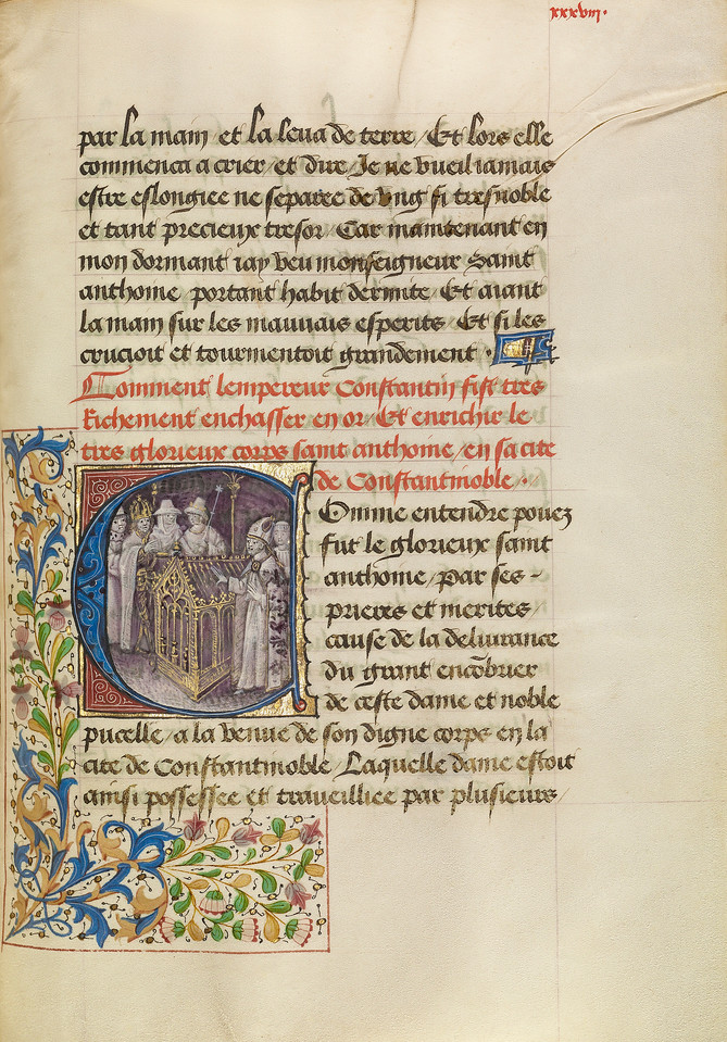 Initial C: The Emperor of Constantinople Enshrining the Body of Saint Anthony