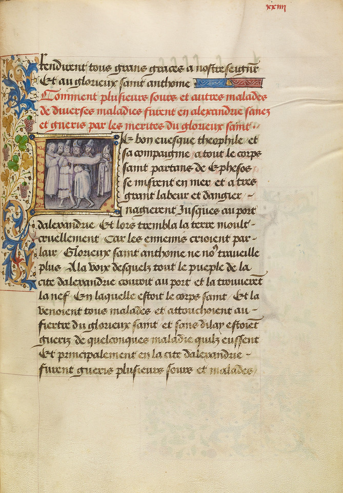 Initial L: The Sick in Alexandria Are Healed after Touching the Body of Saint Anthony