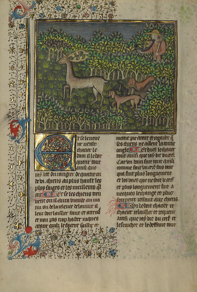 A Hunter and Dogs Pursuing a Fallow Deer