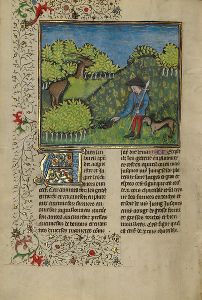 A Hunter and a Dog Examining a Deer's Spoor