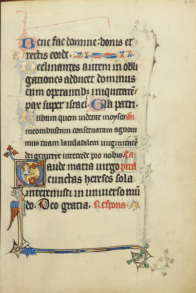 Initial G: The Virgin Mary Pointing to Books Burning in a Fire