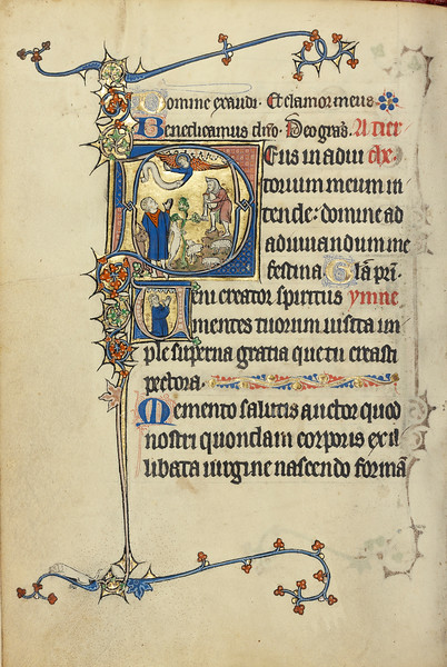 Initial D: The Annunciation to the Shepherds; Initial V: A Man in Prayer